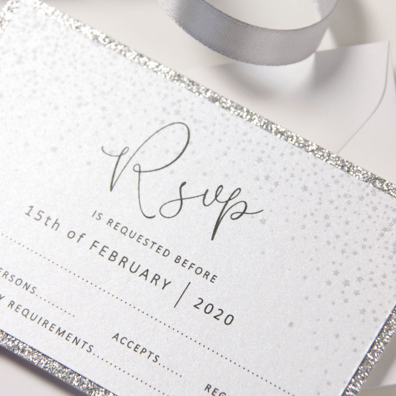 White Winter a Snowflake RSVP with Glitter Backing