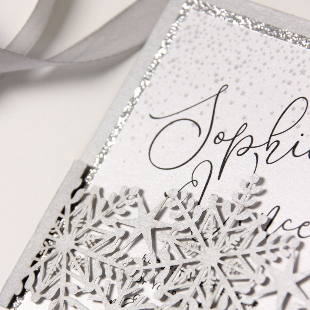 White Winter a Snowflake Laser Cut band Wedding Evening Invitation with Glitter Backing