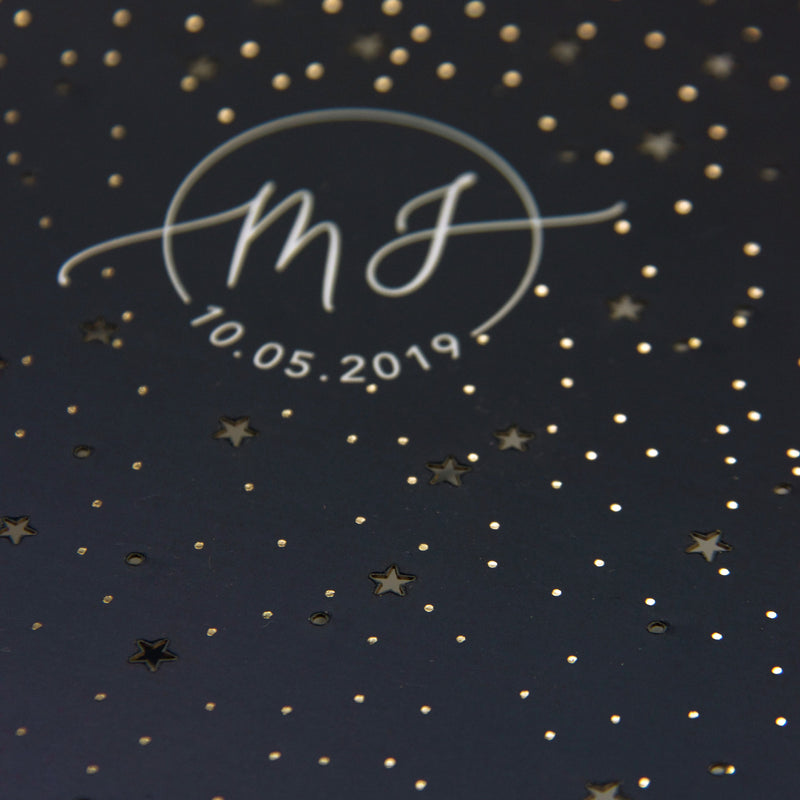 Laser Cut Starry Nights Invitation and Silver Foil and Monogram + Rsvp Modern Suite