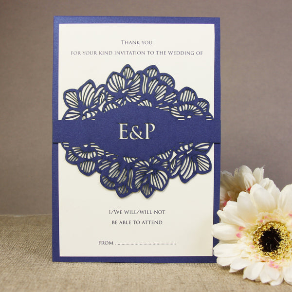 Intricate Orchid Laser Cut Gatefold Wedding RSVP / Thank you / Save the Date Card