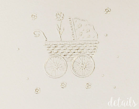 Baby Announcement / Baby Shower / Thank You Card with Embossing and Gold Foil
