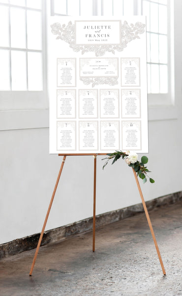 Luxury Intricate Laser Cut Rose Wedding Table Plan