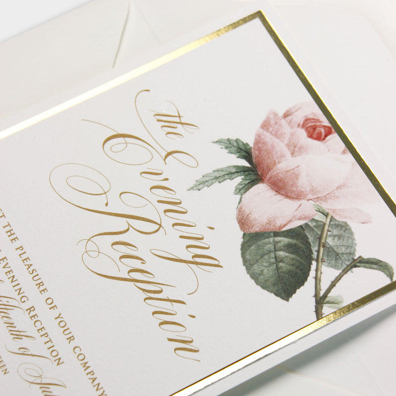 Luxury Gold mirror and Cream Romantic Roses Evening Invitation