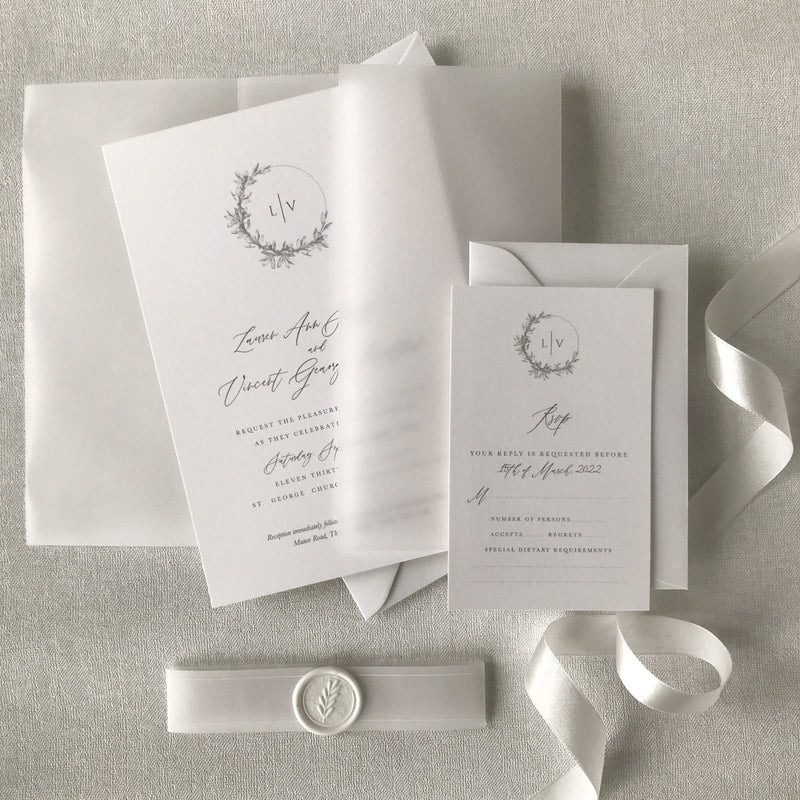 Modern Calligraphy Vellum Wrap Wedding Invitation Suite with White Wax Seal