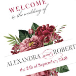 Bordeaux Dark Red Wine Welcome Wedding Sign