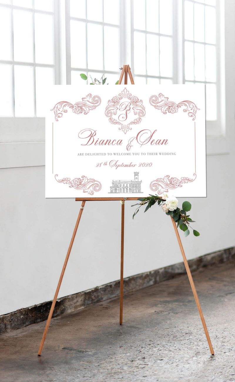Regal Rose Gold Welcome Wedding Sign