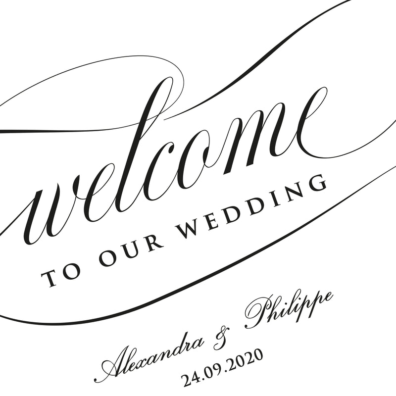 Black Calligraphy Welcome Wedding Sign