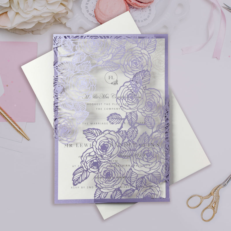 Lilac & Lavender Intricate Laser Cut Roses with Pearl Foil Belly Band Style Wrap Wedding Day Invitation
