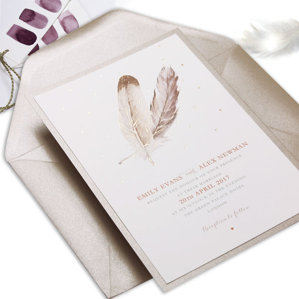 Vintage Boho Feather with Rose Gold Foil Watercolour Wedding Day Invitation