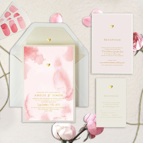 Gold Foil Heart Pink Watercolour Wedding Day Invitation