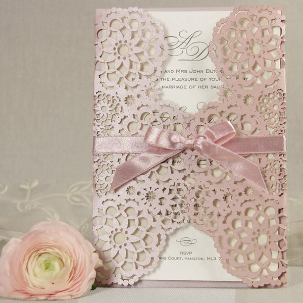 Lace Ribbon Wedding Invitations with beautiful invitation example