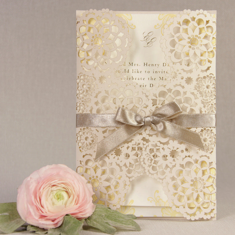Filigree Lace Laser Cut Gatefold Wedding Day Invitation