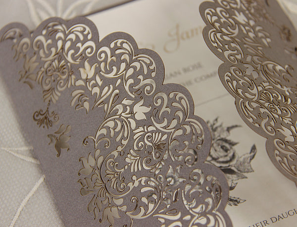 Intricate Lace Laser Cut Gatefold Wedding Invitation