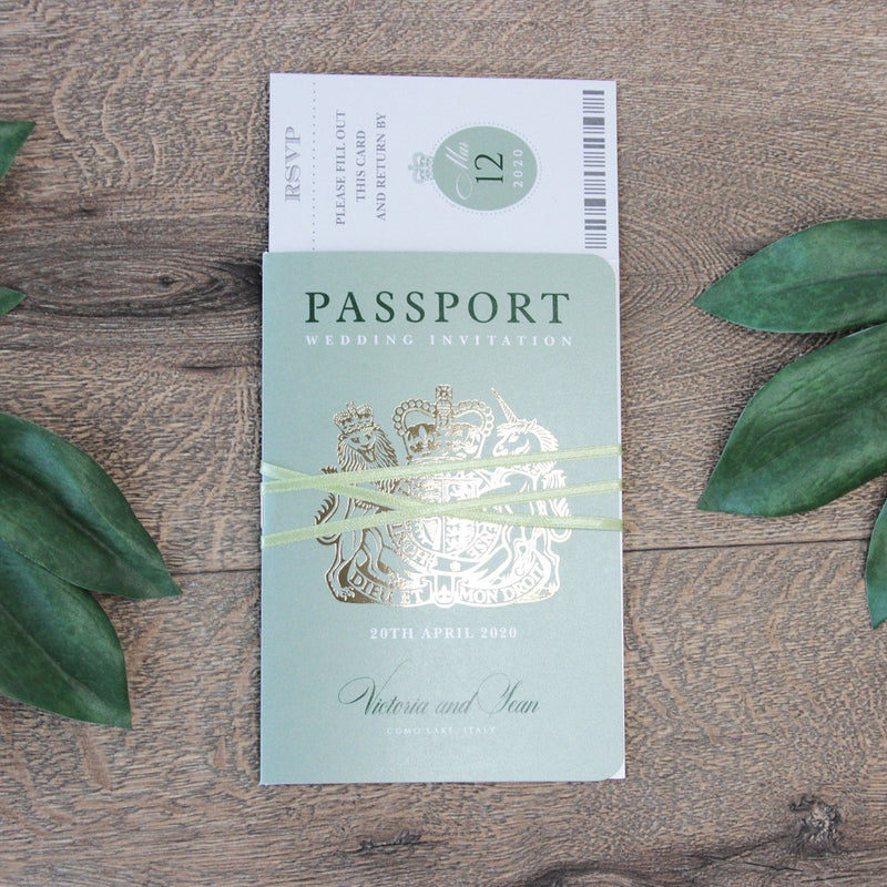 Sage Green Passport Wedding Invitation with Real Gold Foil