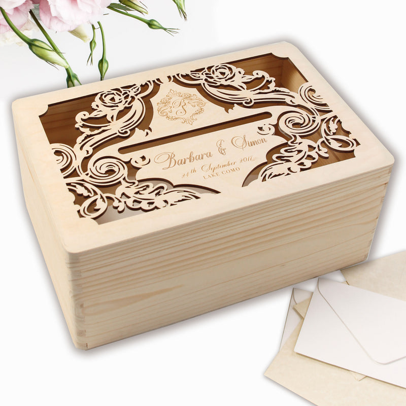 Luxurious Monogram Laser Cut and engraved Personalised Wooden Card | Money box / letterbox  for on the day gifts