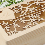 Intricate Tree laser cut and engraved wooden Card Money box | letterbox  for on the day gifts
