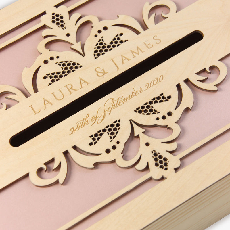 Intricate Opulence laser cut and engraved Wooden Card Money box | Letterbox for on the day gifts and cards