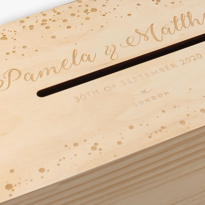Confetti dotted engraved wooden Card / Money box / Letterbox for Wedding Day or on the day gifts