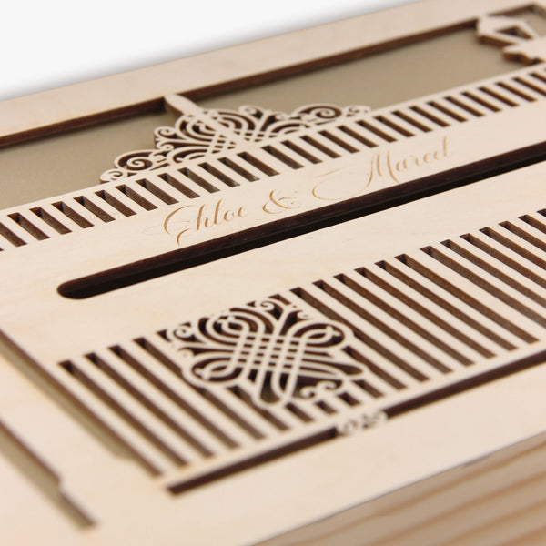 Ornamental Gate laser cut and engraved wooden money box / Letterbox  for on the day gifts