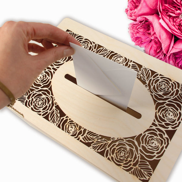 Romantic Roses laser cut and engraved Wooden Money box |  Card | Letterbox  for on the day gifts