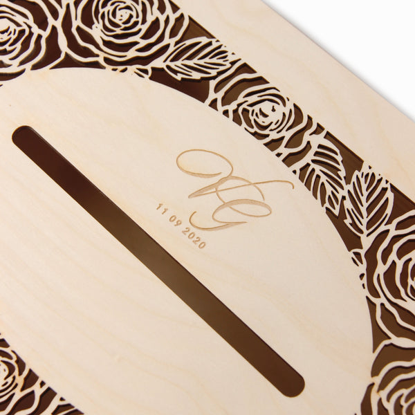 Romantic Roses laser cut and engraved wooden money box / letterbox  for on the day gifts