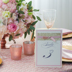 Table Number for Rose Gold Opulence Luxury Laser Cut with Gold Glitter and Ribbed Ribbon