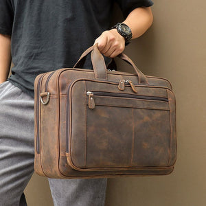 Large Brown Black Coffee Genuine Leather Briefcase.