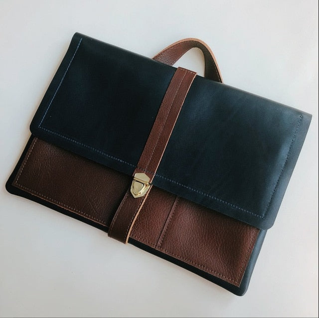 Genuine Leather Men Portable Briefcase. Multi-Function Computer Bag.