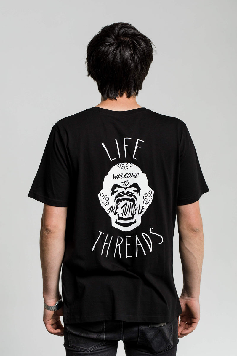 Fairtrade and Organic Tee - 'Gorilla' design on black