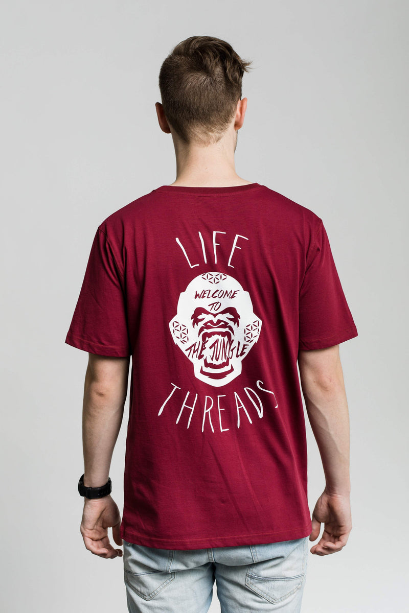 Fairtrade and Organic Tee - 'Gorilla' design on burgundy