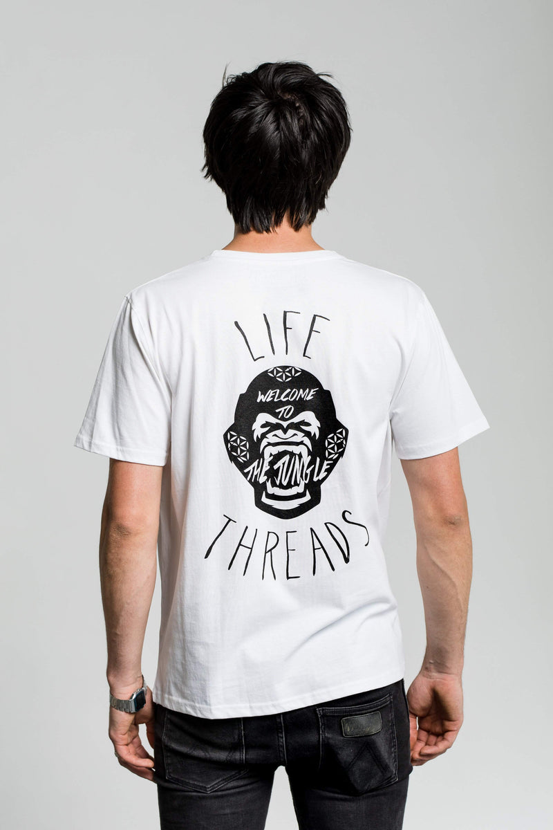 Fairtrade and Organic Tee - 'Gorilla' design on white