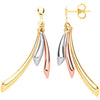 9ct Yellow Gold Rose Gold Tube Drop Earrings - jewellerysavers
