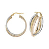 9ct Tri Color Gold Ladies Hoop Earrings - jewellerysavers