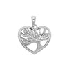 925 Sterling Silver Heart Tree of Life CZ Pendant - jewellerysavers