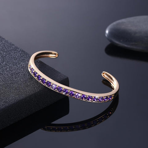 Pav'ed Iced Out Open Bangle in 14K Gold - Purple