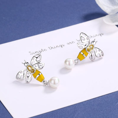 Bee Drop Earrings With Swarovski Pearl and Crystals