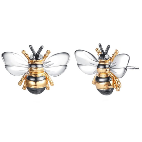 Barzel Tri-Tone Bumble Bee Stud Earrings Made with Swarovski Elements