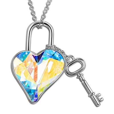 18K White Gold Aurora B Key to my Heart Necklace with Swarovski Crystals