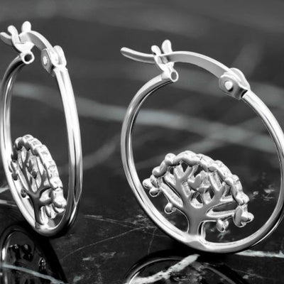 Sterling Silver Tree Of Life Hoop Earrings