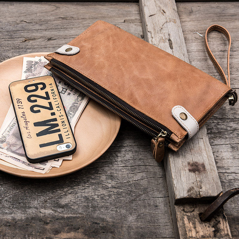 Men vintage leather long wallet