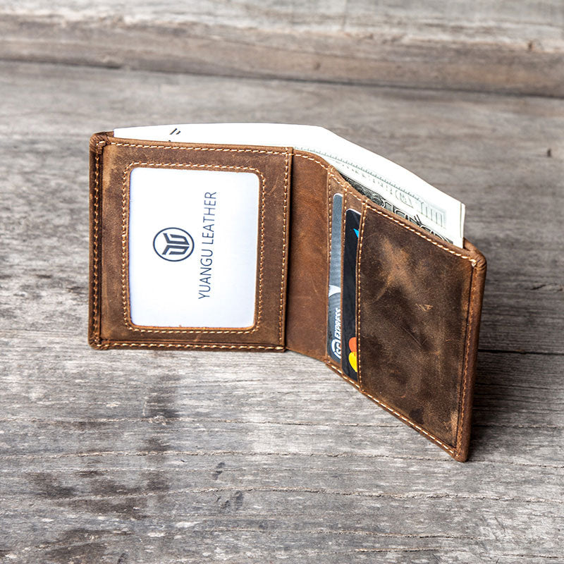 Men vintage leather small wallet