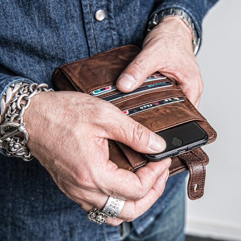 Long Phone Wallets for Men with multi cards