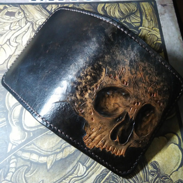 Skull Short Leather Tooled Biker Wallet
