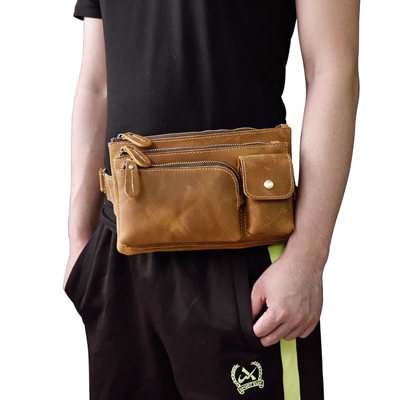 leather mens fanny pack