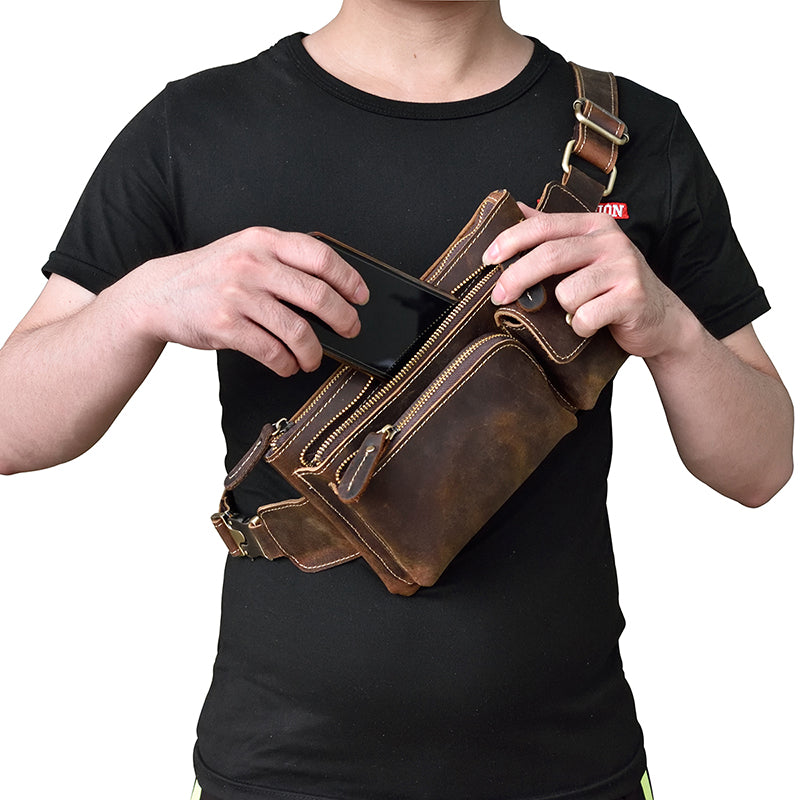 leather mens cool fanny packs