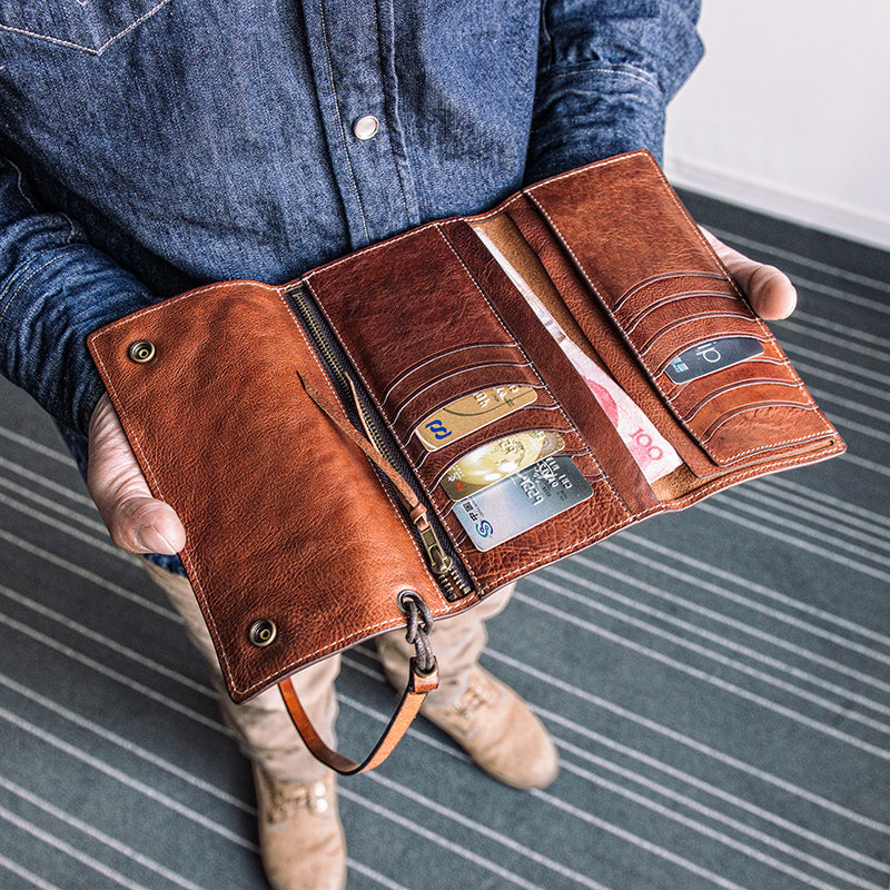 Long Trifold Wallets for Men