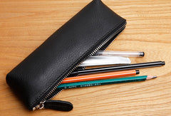 Genuine Leather Cute Pen Pencil Makeup Holder Case Pouch For Women Girl