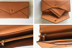 Genuine Leather Cute Long Slim Wallet Bifold Clutch Cards Wallet Purse For Women Girl