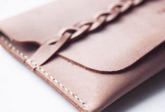 Handmade leather braided personalized custom clutch purse long wallet purse clutch women