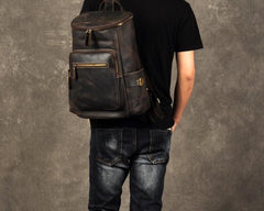 Leather Mens Cool Backpack Large Coffee Travel Backpack School Backpack for men